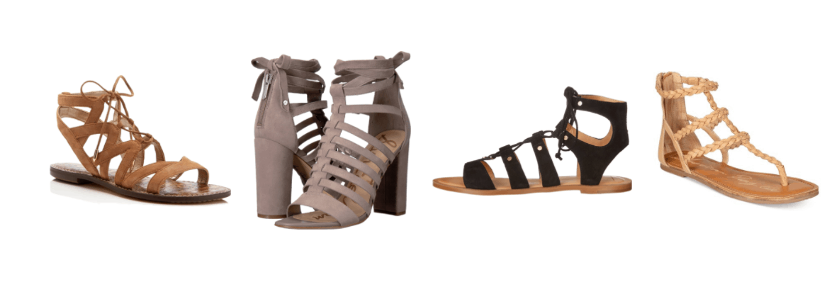 Boho chic style essentials - gladiator sandals: Cognac-brown lace-up gladiator sandals, taupe heeled gladiator sandals with ankle ties, black lace-up gladiator sandals, beige braided gladiator sandals