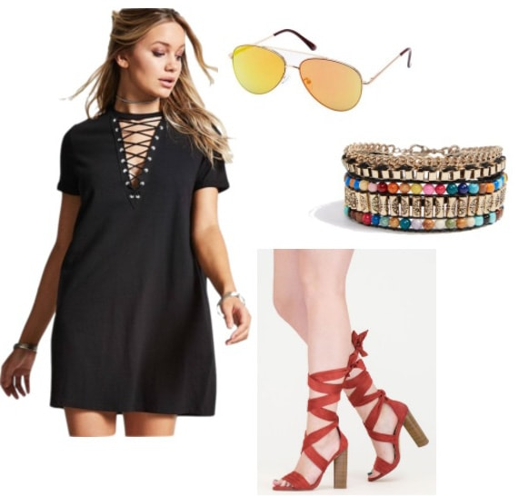 Bohemian styled T-shirt Dress: Black lace-up tee shirt dress, quirky friendship bracelet, red chunky heel lace up sandals, aviator sunglasses
