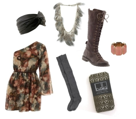 Boho Outfit with boots and socks