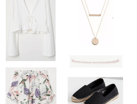 white crop top, floral shorts, gold necklace and bracelet, black shoes