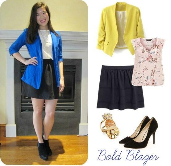 Bold blazer, skater skirt, pumps