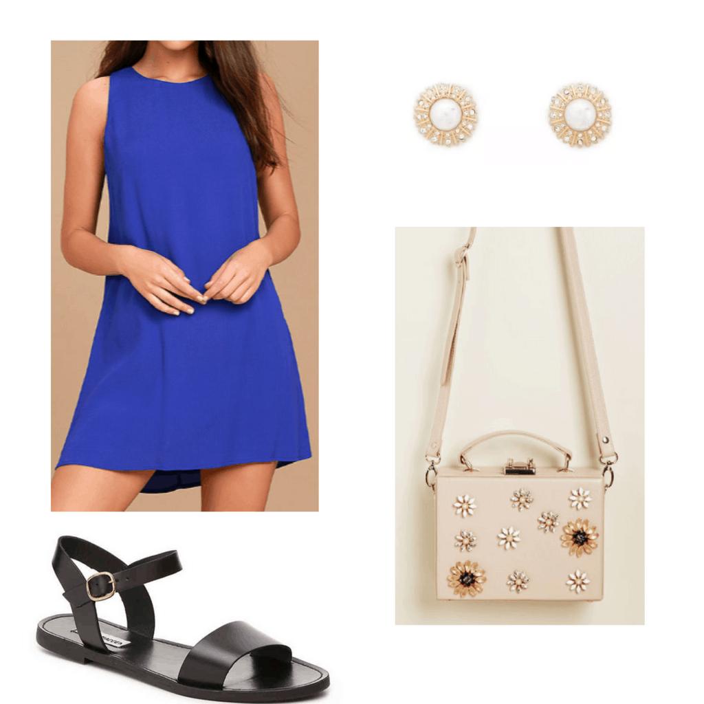 royal blue dress, black sandals, gold and white earrings, embellished bag