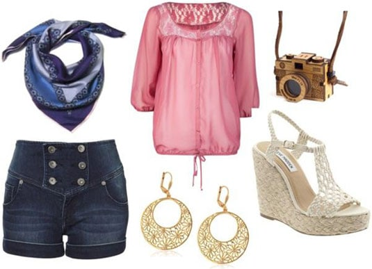 Boogie Nights outfit 1: High-waisted shorts, pink peasant blouse, blue scarf, espadrille wedges, earrings