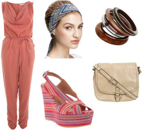 Boogie Nights outfit 2: Jumpsuit, head scarf, platform wedges, bangles, cross-body bag