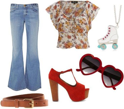 Boogie Nights outfit 3: Bellbottom jeans, floral blouse, Lita boots, belt, lolita sunglassess