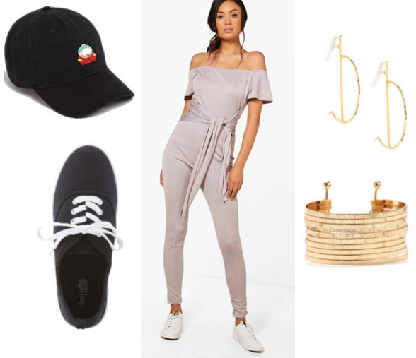 How to style a Boohoo one piece jumpsuit with black sneakers, gold bracelet, gold earrings, and a South Park hat