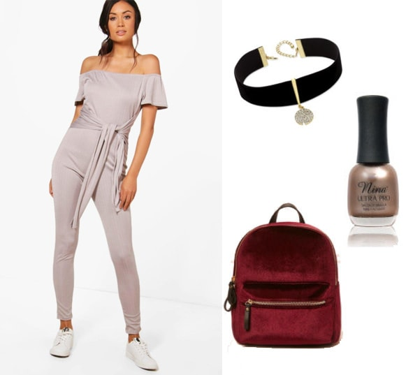 How to style a Boohoo one piece jumpsuit with a choker, velvet backpack and gold nail polish