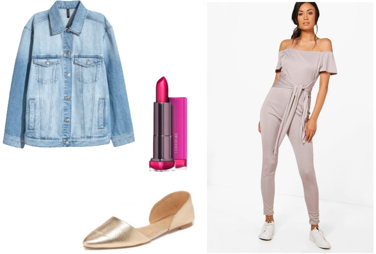 How to style a Boohoo one piece jumpsuit with an oversized denim jacket, gold flats, and bright lipstick