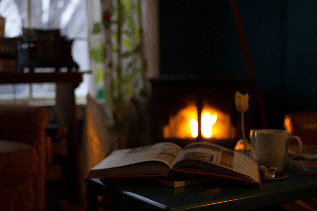 open book in front of fireplace