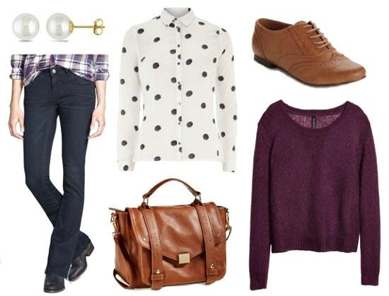 Bootcut jeans polka dot shirt purple sweater look