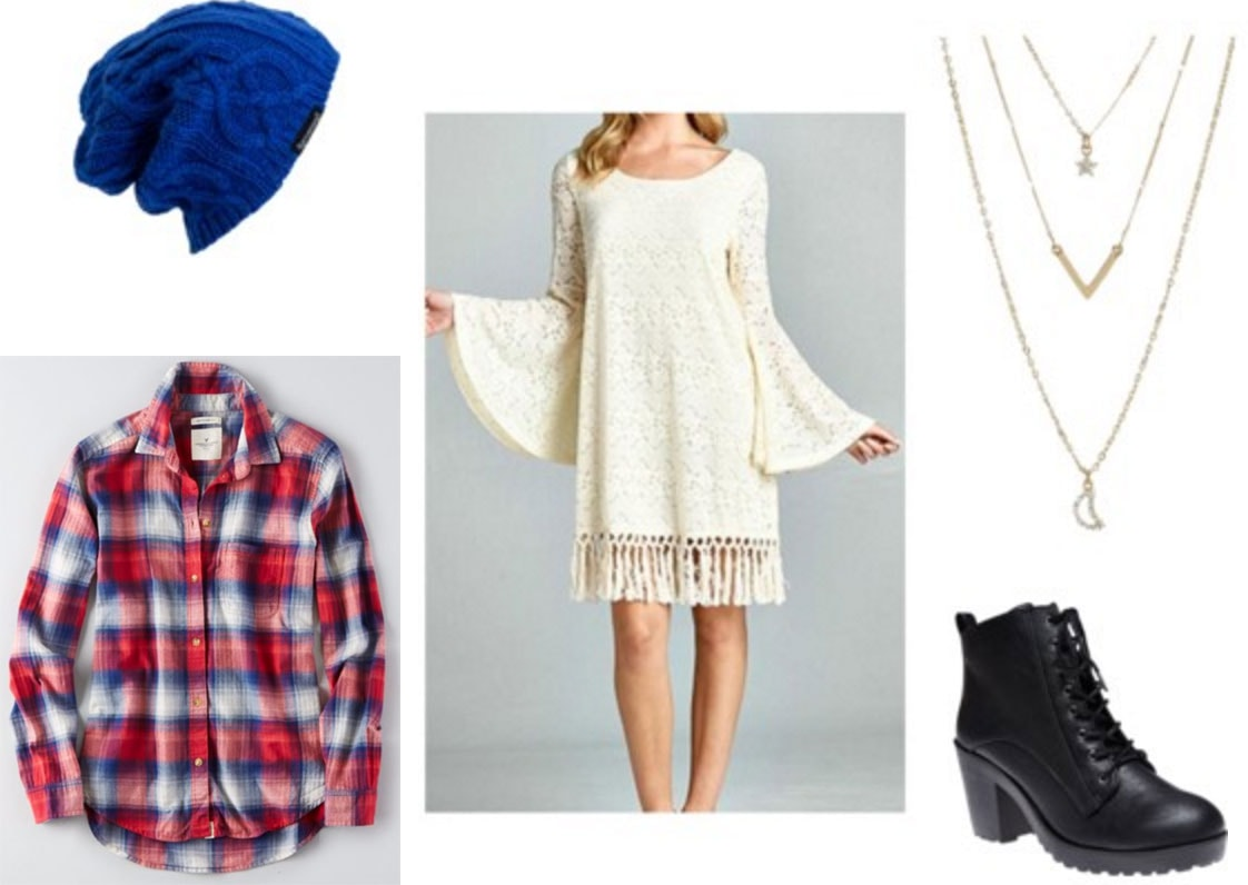 Fashion inspired by Borns Electric Love: Lace dress, cobalt beanie, red and white plaid shirt, ankle booties
