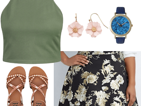 green crop top plus size black floral scuba skater skirt plus size cherry blossom earrings LC Lauren Conrad blue watch studded sandals