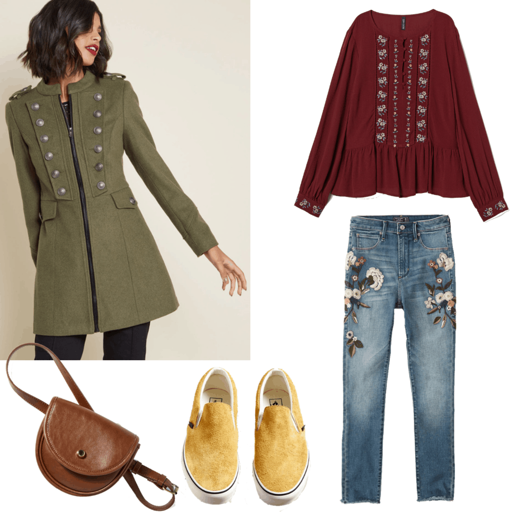 Get the Look: (Night at the Botanical Garden Lights) Long Structured Military Styled Coat; Burgundy Floral Embroidered Blouse; Floral Embroidered Skinny Jeans; Dandelion Colored Slip-On Vans