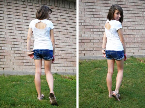 DIY bow back tee shirt