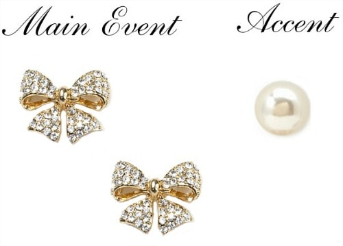 Bow studs and pearl earring pairing