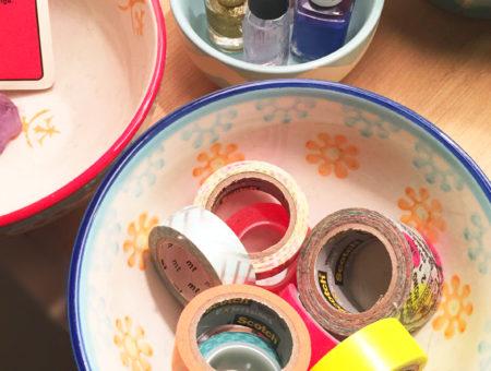 Using cute bowls to hold washi tape and nail polish - apartment decor