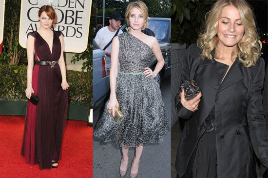 Emma Stone, Emma Roberts, and Julianne Hough rocking the box clutch trend