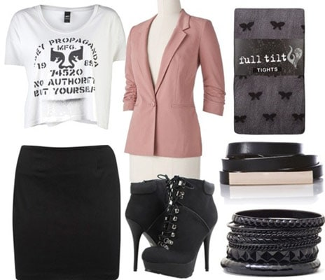 Boy Meets Girl Fall 2011 outfit 2 - Black skirt, white tee, ankle booties, rose blazer, tights