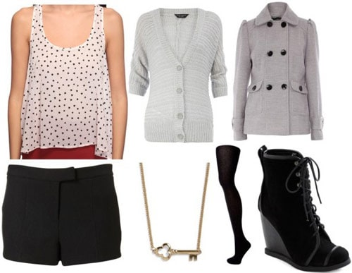 Boy Meets Girl Fall 2011 outfit 3 - Polka dot tank, black shorts, ankle booties, grey cardigan and coat