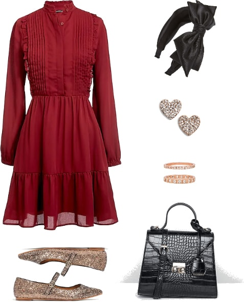 What to wear to Convocation: Long sleeved burgundy dress, black satin headband, glitter flats, heart earrings, top handle purse