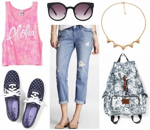 Boyfriend jeans, hot pink tank, navy sneakers
