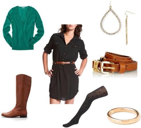 Boyfriend sweater outfit 2: Dress, riding boots, belt, tights