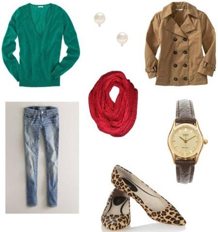 Boyfriend sweater outfit 3: Skinny jeans, leopard flats, coat, scarf