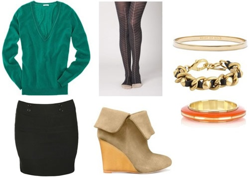 Boyfriend sweater outfit 4: Bandage skirt, wedge booties, tights