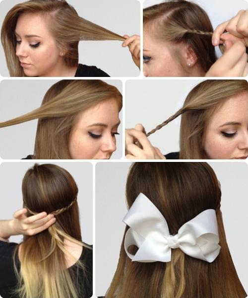 Braids hair bows tutorial