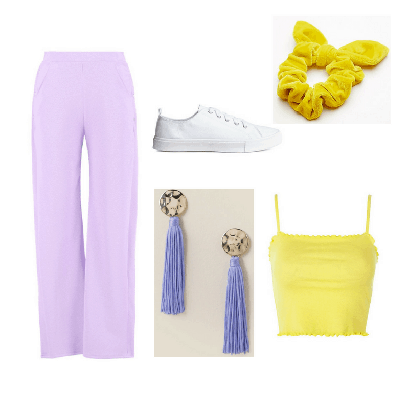 An outfit set of lavender breezy pants, yellow crop top, white sneakers, lavender tassel earrings, and yellow scrunchie.
