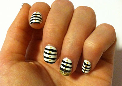 Breton stripe nails