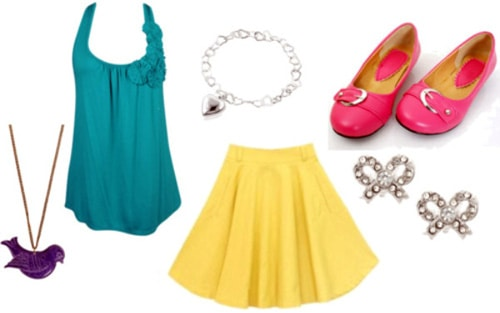 Brightly colored outfit featuring a yellow skirt and teal top