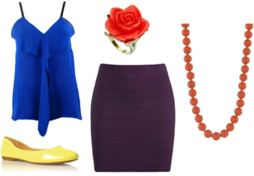 Brightly colored outfit with a blue top, yellow shoes, and a red necklace