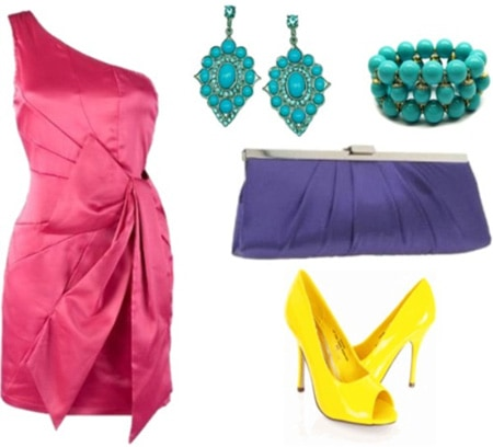 Brightly colored outfit with a pink dress, yellow heels, and a blue clutch