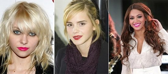 Bright lipstick on Taylor Momsen, Emma Watson, and Beyonce