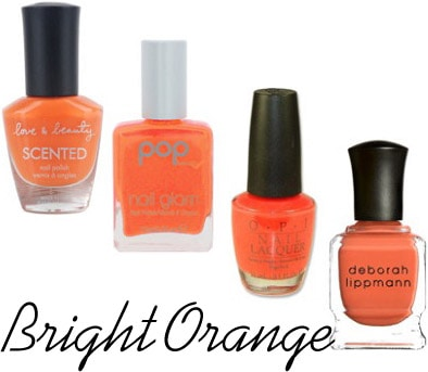 Bright orange nail polish