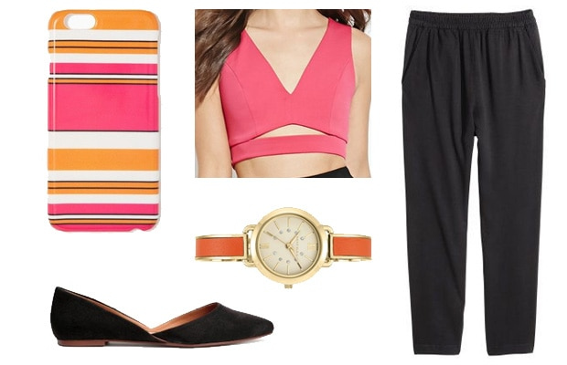 Bright pink chic classy crop top outfit