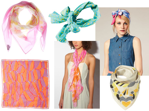 Brightly colored scarves