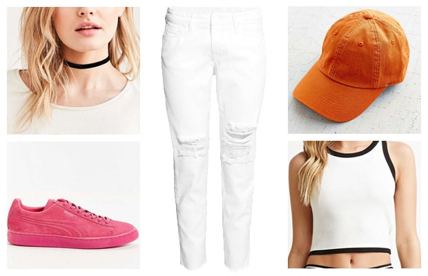 Bright color pop street style pink orange white outfit
