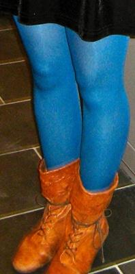 Bright neon blue tights