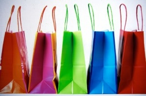 Brightly colored shopping bags