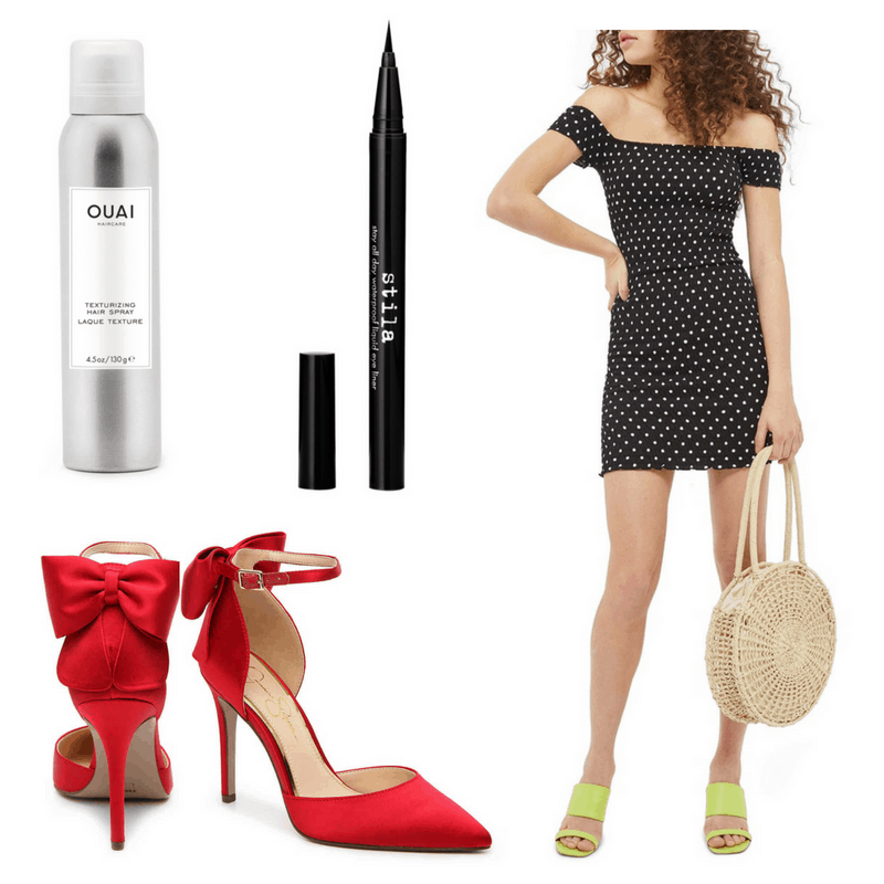 Brigitte Bardot style: Outfit inspired by Brigitte Bardot with off the shoulder body con polka dot dress, red high heels with bows, black eyeliner, and hairspray