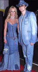 Britney spears and Justin Timberlake in matching denim outfits