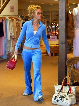 Britney Spears in a blue Juicy Couture tracksuit