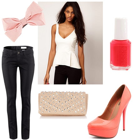 Girly outfit for broad shoulders