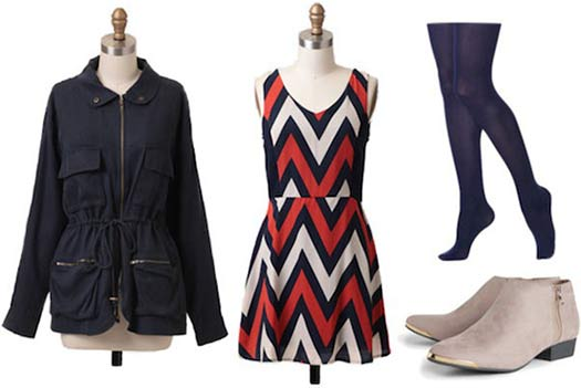 Super Bowl outfit for a Denver Broncos fan: Chevron dress, navy jacket, tights, grey ankle booties