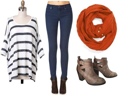 Super Bowl outfit for a Denver Broncos fan: Striped shirt, skinnies, orange scarf, booties