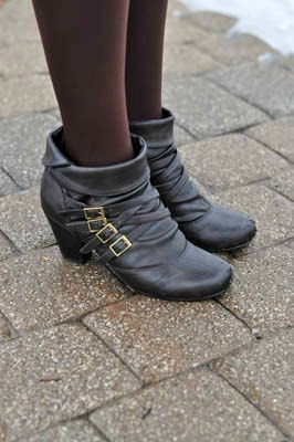 Brown booties and tights