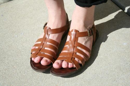 Brown sandals at pratt institute