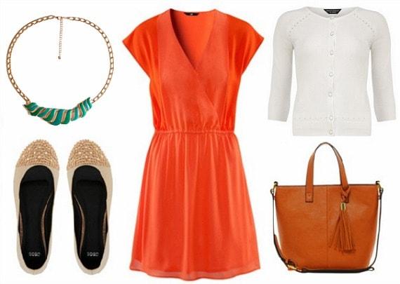 orange dress, white cardigan, statement necklace
